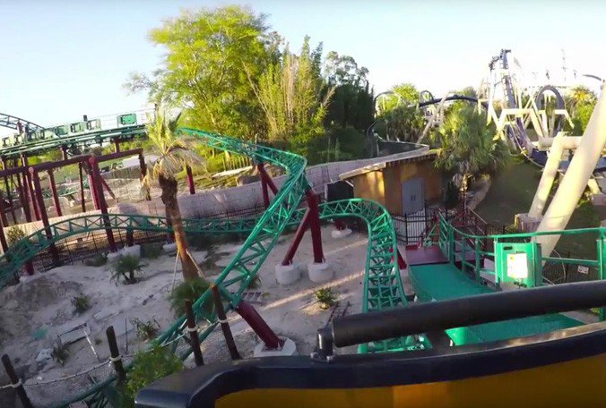 .@BuschGardens' Cobra's Curse🎢 will debut soon. Riders go backward. #StrikingDistance  📺: