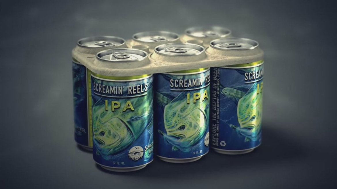 FL brewery creates edible 6-pack rings to save marine life.