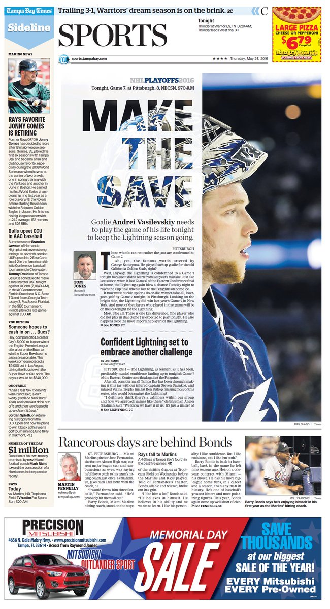 Today's @TBTimes_Sports | #TBLightning needs Vasilevskiy to turn in best-ever game pronto »