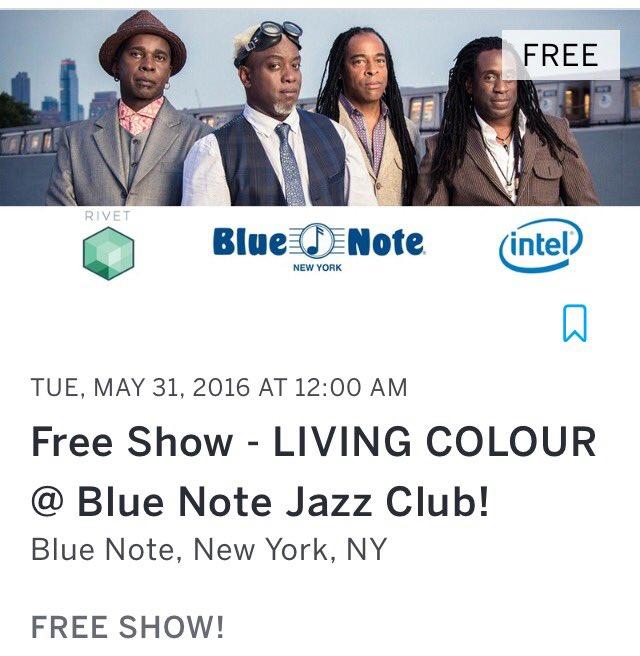 Free #LivingColour show @BlueNoteNYC 5/31