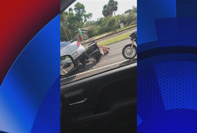 FHP: Cell phone video shows man turning sedan into a motorcycle on US 41 on Monday.