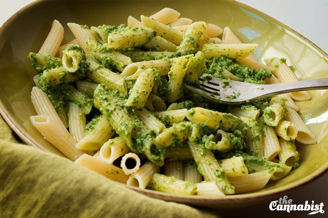 You won't find this on the menu at Olive Garden. It calls for cannabis-infused olive oil: