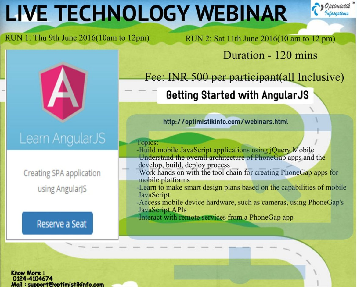 To Attend Live Webinar-Getting Started with AngularJS-9th june16-10am to 12pm-To Register-