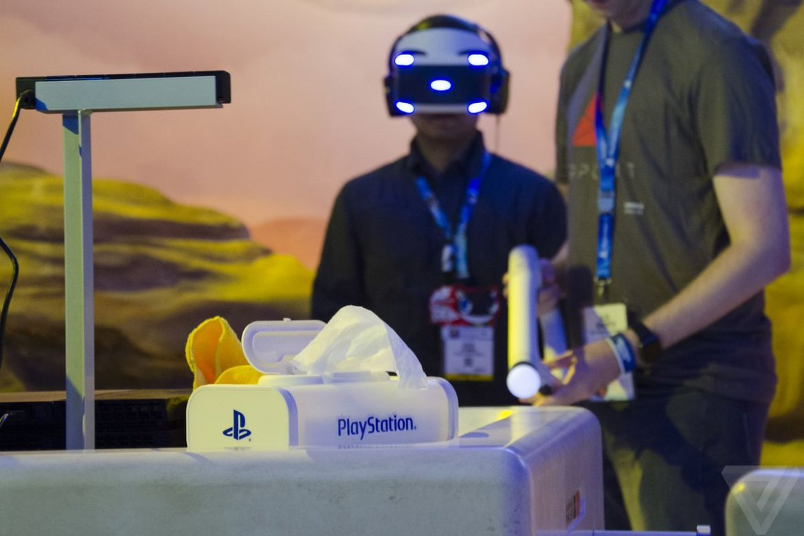 PlayStation-branded wet wipes: the most essential part of any public #VR experience