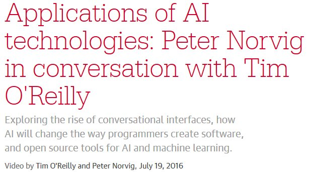 Applications of #AI technologies. @timoreilly talks to Google's Peter Norvig:  23m (sign-in)