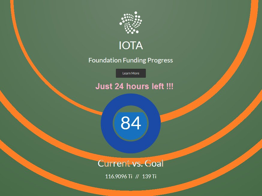 Just one day left to finance the #IOTA Foundation! Please donate:   #IOTATOKEN #IOT #Altcoin