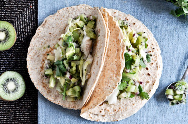 It\'s - Grilled Coconut Lime Tilapia Tacos with Kiwi Salsa