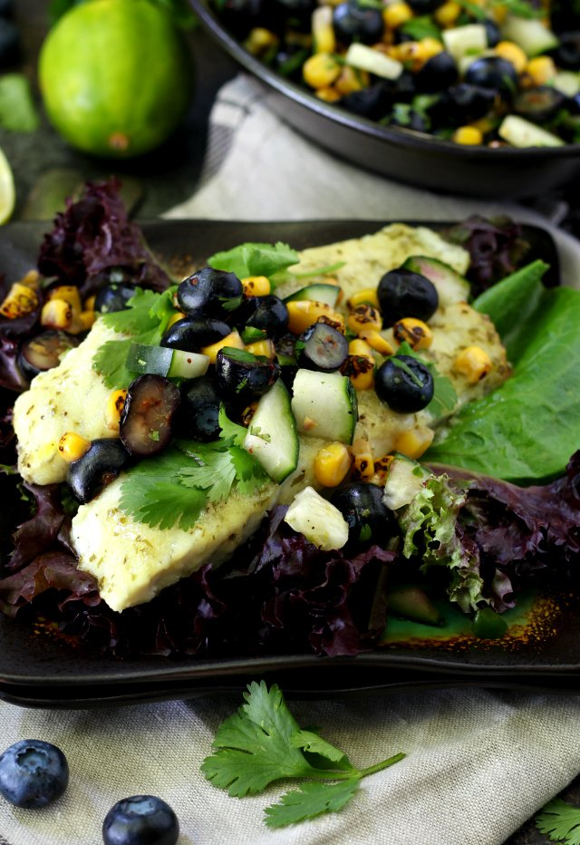Try with this Roasted Barramundi with Blueberry Salsa AD �