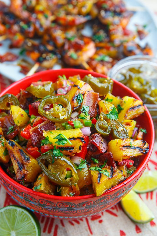 Teriyaki Grilled Pineapple Salsa with Candied Jalapenos and Bacon