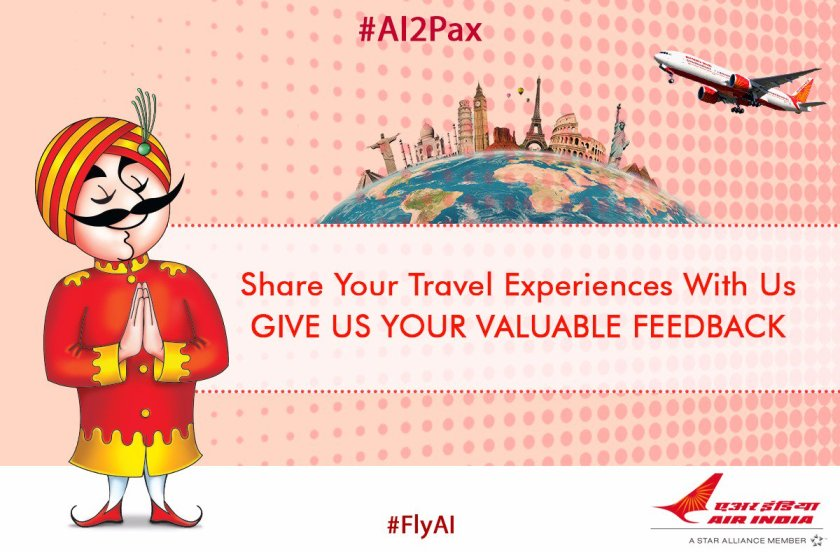 #AI2Pax:We love to hear of your #travel experiences with us #AI .Give us your feedback at