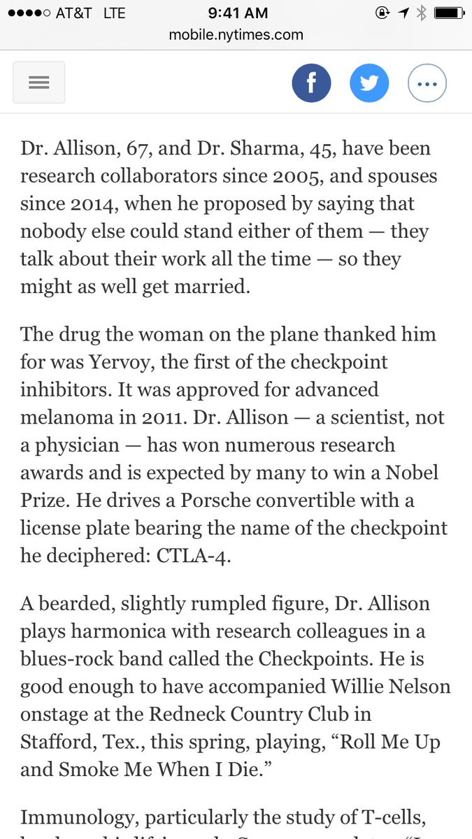 Harnessing Immune System 2 Fight Cancer  So well done & loved this on researchers' marriage