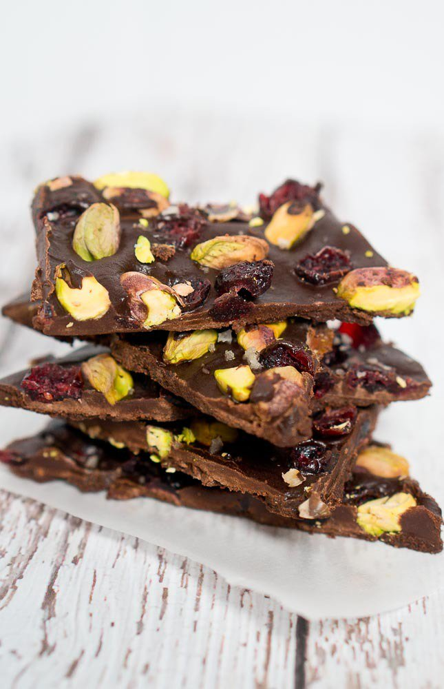 Cranberry Pistachio Chocolate Bark.