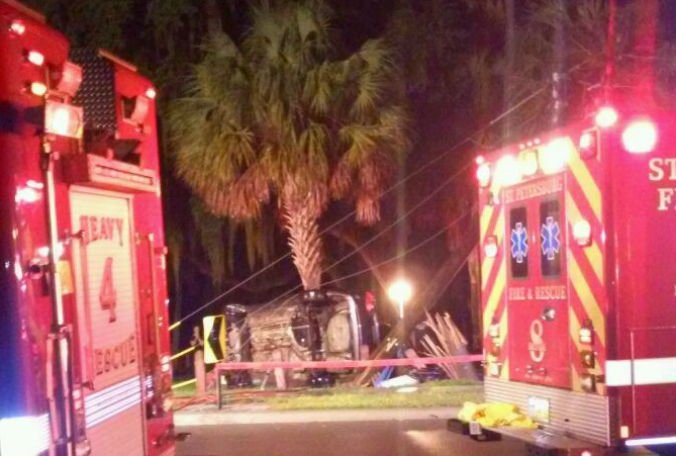 A car crash caused a power outage in South St. Petersburg Friday night: