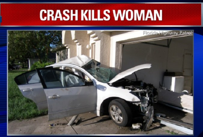 A 22-year-old woman was killed when her car crashed into a Spring Hill home Thursday.