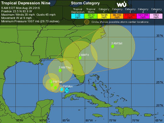 Invest 99L now Tropical Depression 9, expected to become tropical storm and target Tampa Bay
