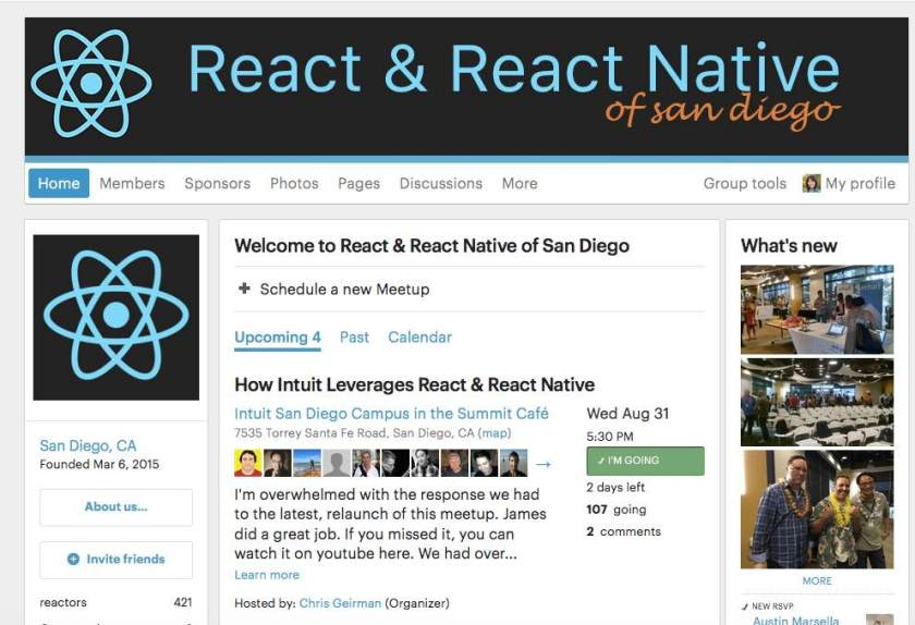 Woot! #reactjs React Native #SanDiego #meetup is Wed, 8/31 @Intuit -  w/ @geirmanc