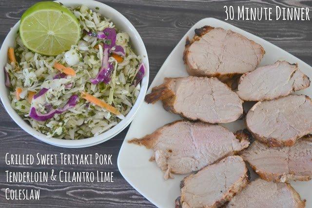 Grilled Sweet Teriyaki Pork Tenderloin @SmithfieldFoods & Cilantro Lime Coleslaw