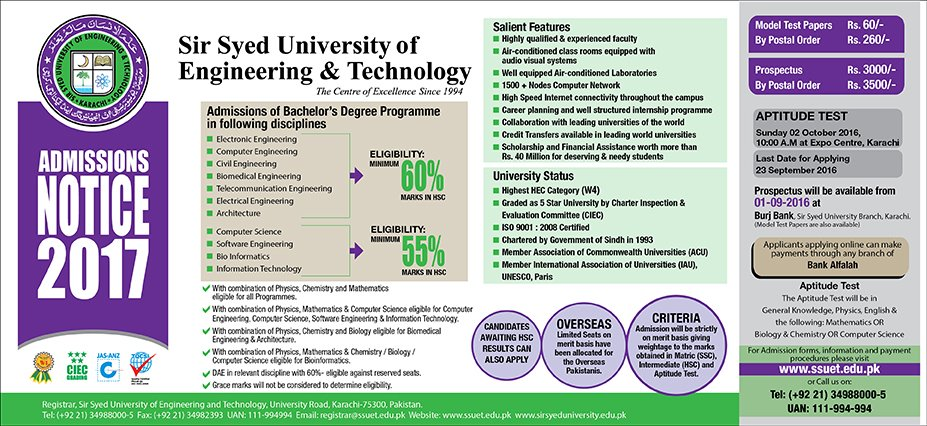 Admissions are now open! Visit… – Sir Syed University of Engineering