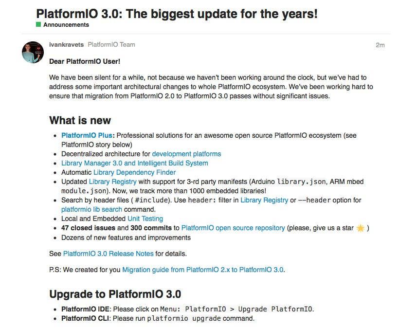 🎉 PlatformIO 3.0: The biggest update for the years! 🎉  🔗  🚀  🔗 #IoT