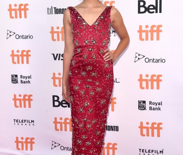 Callie Hernandez Wore A Kayat Fall  Crimson Beaded Satin Midi Dress To The
