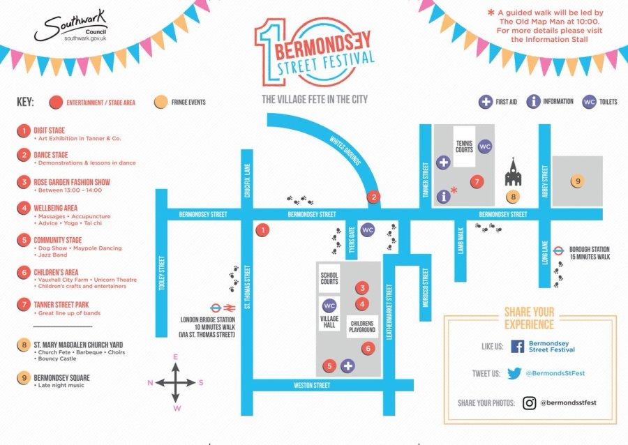 Bermondsey Street Festival 2016 map