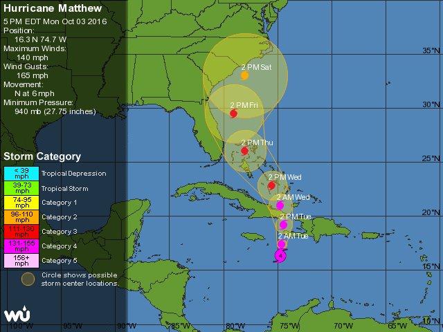 5-day Forecast for #HurricaneMatthew:  #Geospatial #BigData