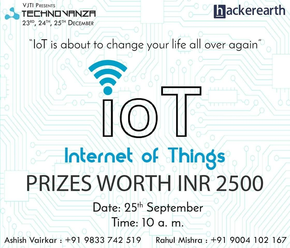 #Technovanza presents the second online event-InternetofThings! Register at:   @HackerEarth