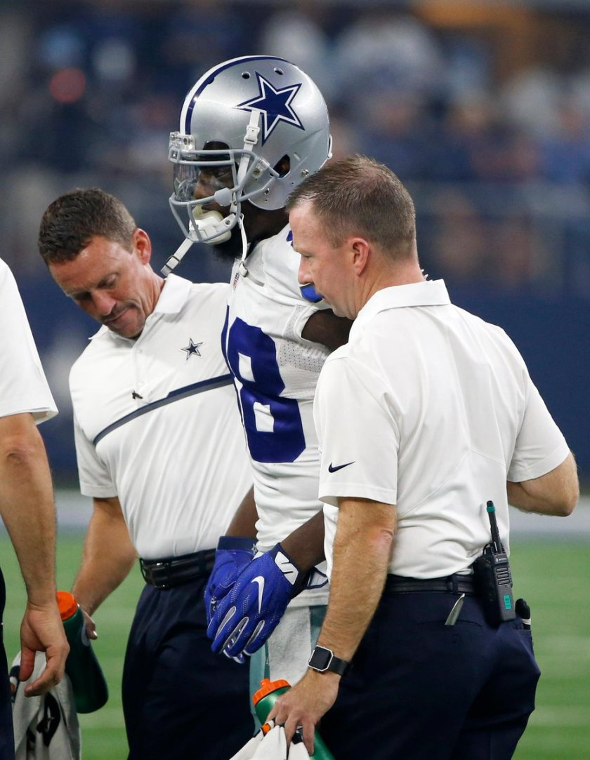 Dez Bryant sprained his right knee on Sunday night and will have an MRI on Monday.