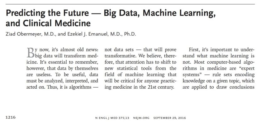 Machine learning will Δ and improve medicine   by @oziadias + @ezekemanuel (<-?) #AI #CDoM