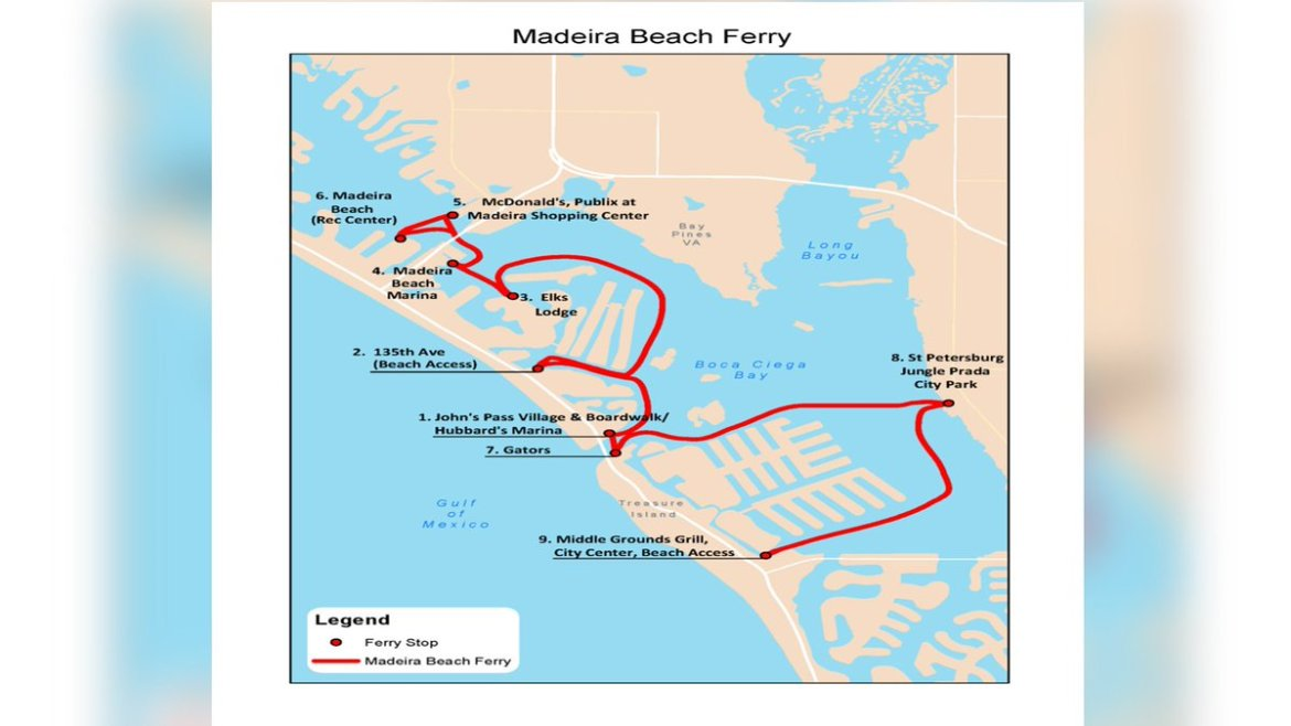 Madeira Beach water taxi starts service Saturday.  TAXI MAP: