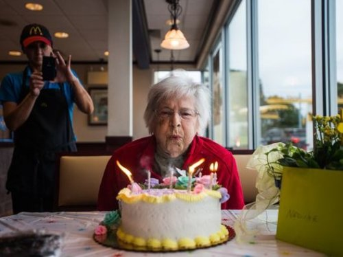 Nadine received a birthday cake and card from MacDonald's on her 100th birthday. (Image: Twitter)