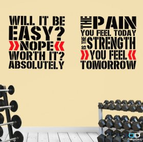 WallArt. Two Pro Gym Exercise coach trainers Quote Great Saving gym