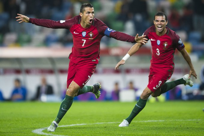 Image result for Cristiano Ronaldo scores 42nd career hat-trick in Portugal win