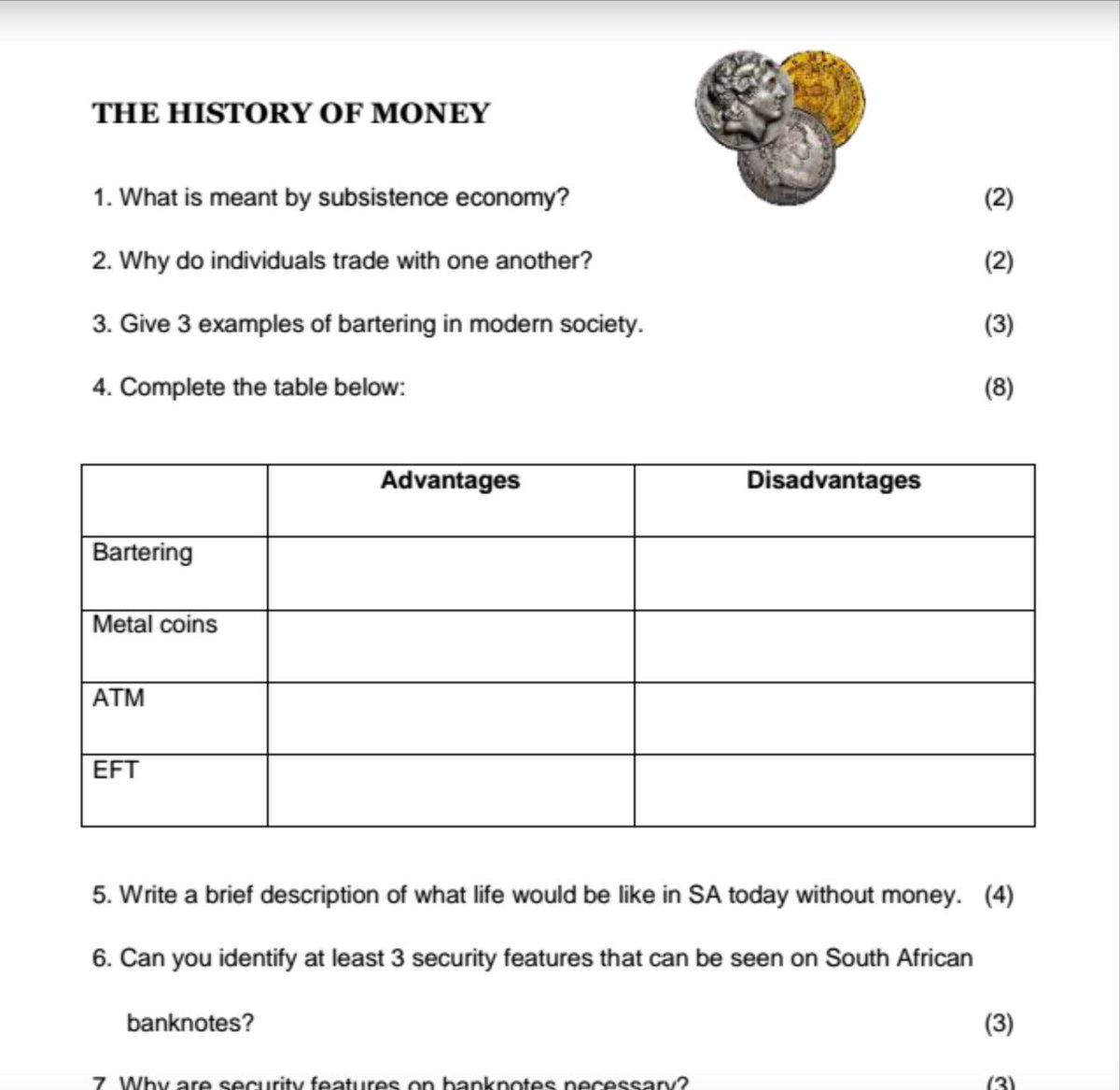 Nolwazi Oers On Twitter Great Worksheet On History Of Money Gr7 Ems S T T8j3fqj4vr