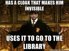 Image result for harry potter invisibility cloak library