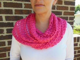 Hot Pink Bright Pink Infinity Scarf Lacy Open Weave Hand Knit Watermelon etsymntt Fashion