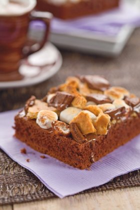 Get your chocolate here! Simple S\'Mores Cake ://