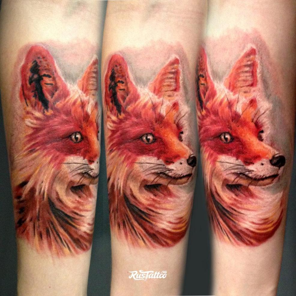 Rustattoo On Twitter татуировка лиса мастер Karen Tsvetnoy