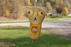 The carving of the Butternut Squash Face! Halloween crafts fall