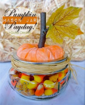 So adorable I can't even deal! DIY {Mason Jar} Pumpkin Payday! craft fall Halloween