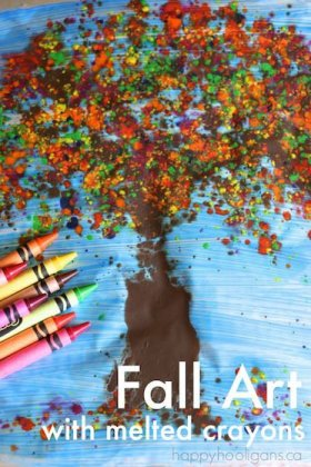 Amazing Fall Art with Melted Crayon Shavings happy_hooligans crafts kids