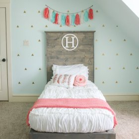 DIY Twin Bed, such a great headboard with this Chic White bedding! diy home design