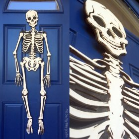 How to Make a Skeleton Halloween Decoration for the Front Door - skeleton halloween DIY