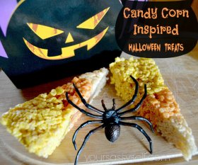 Wow this with these Candy Corn Rice Krispie Treats