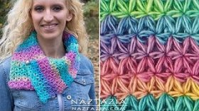 DIY Tutorial - HowTo Crochet Oh My Stars Scarf - Puffed Flower Star Stitch