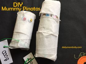Mummy pinatas that you can DIY for a fun way to hide Halloween treats