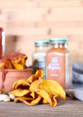 Pumpkin Chips w/ Harissa & Cumin Cashew Dip - WOW! ->