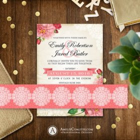 Printable Wedding Belly Bands for Invitation Set Vintage Pink &.. DIY DoItYourself