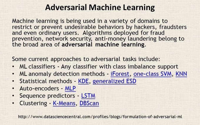 Learn more about Adversarial #MachineLearning here:  #abdsc #BigData #DataScience #algorithms