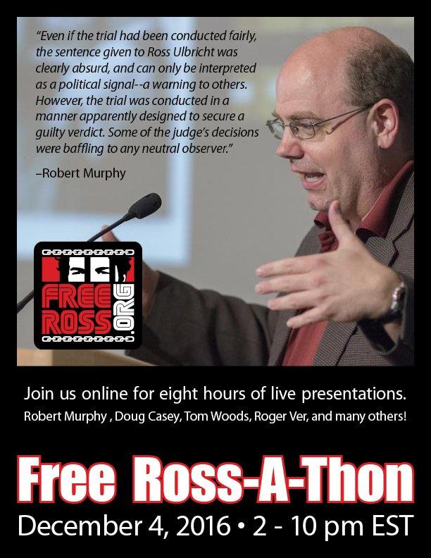 Join brilliant economist @BobMurphyEcon at  Hear amazing speakers for free & help #FreeRoss !